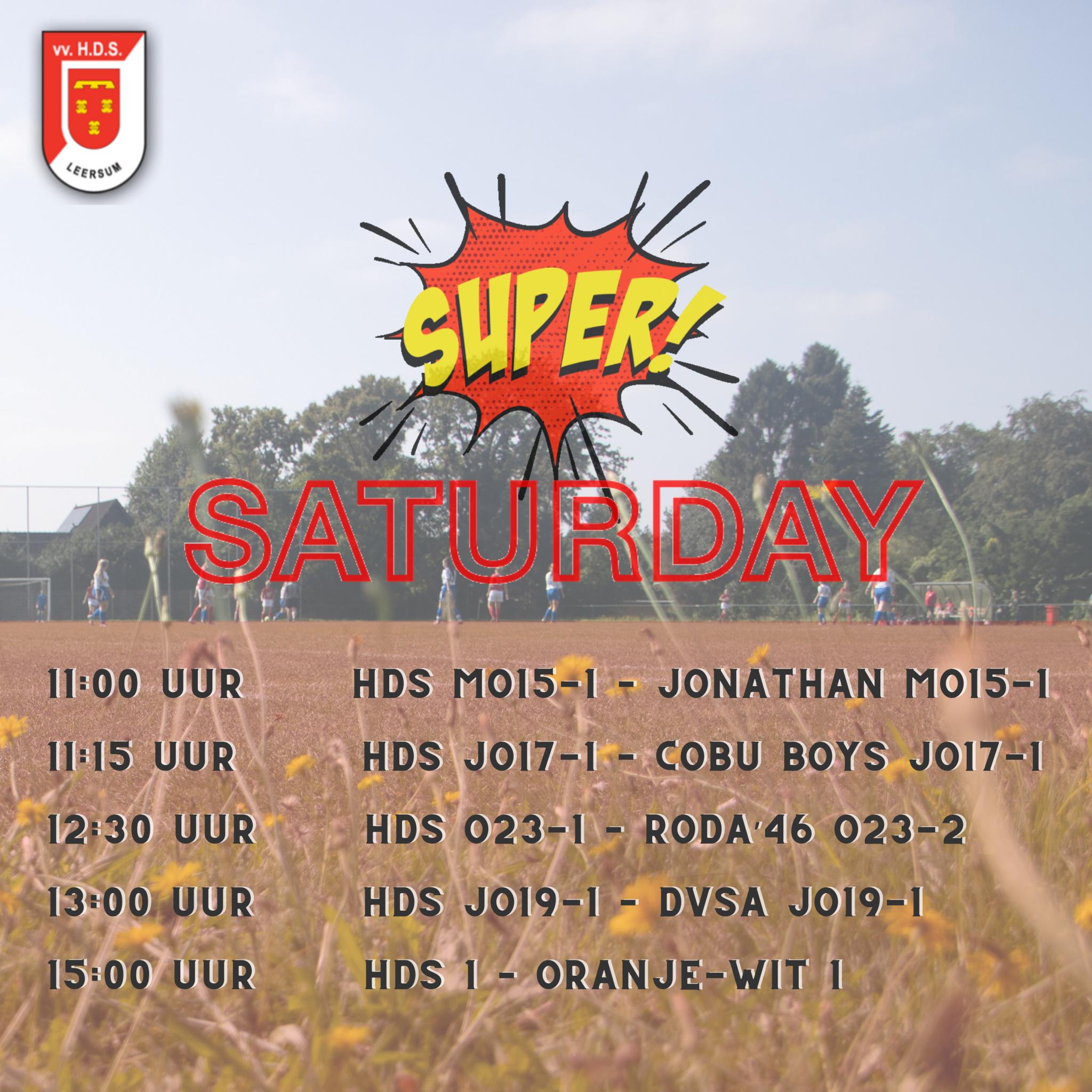 Super Saturday bij HDS aanstaande zaterdag 2 oktober 2021