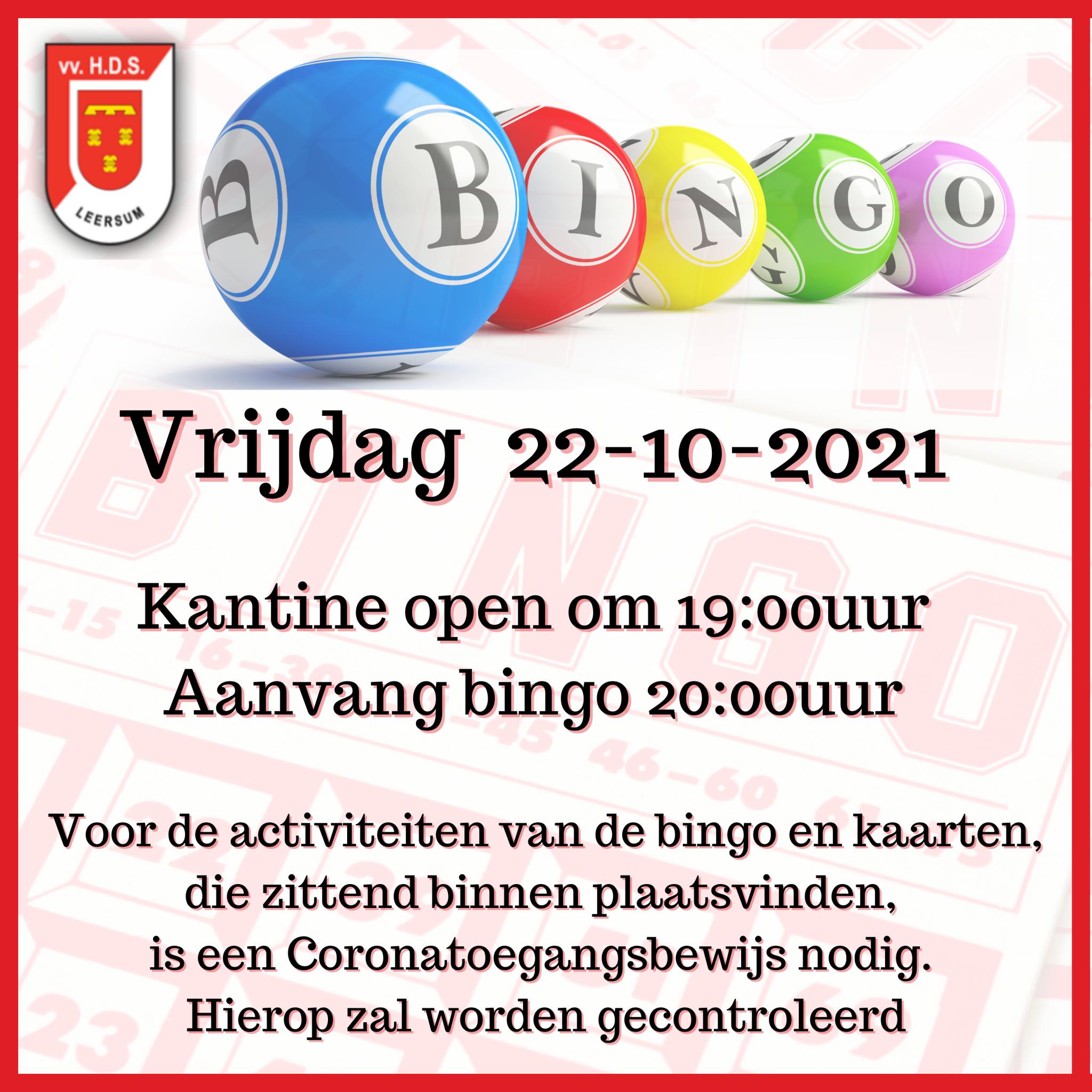 Vrijdag is er weer Bingo!!!